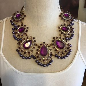 Large statement faceted purple stone necklace
